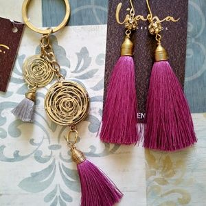 Tassel Earrings and Tassel Keychain with crystals